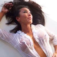 Jade Wet Blouse with No Panties - Brunette, Wet
