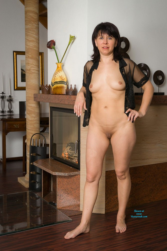Fireplace - Brunette Hair, Shaved , Some Pictures Warming Me Up Beside My Fireplace.