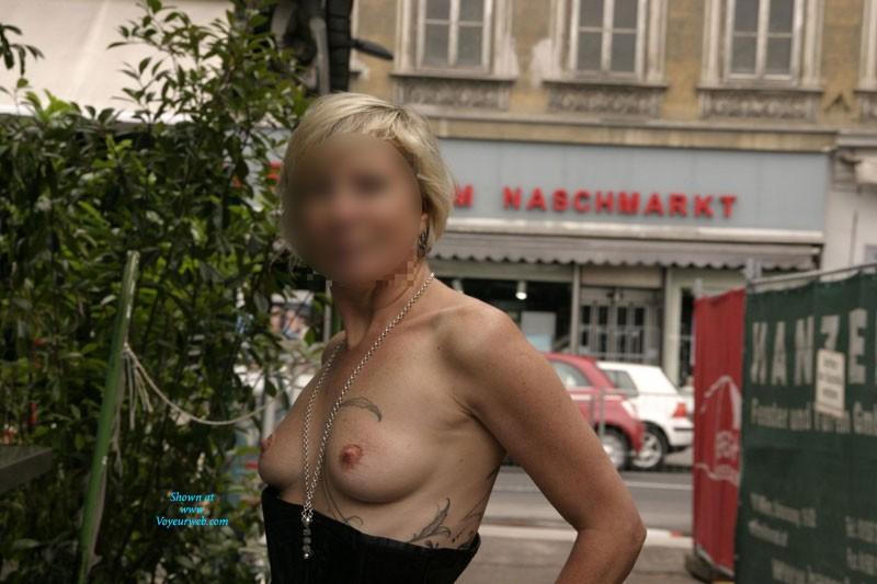Pic #1 Day at Vienna Naschmarkt - Blonde, Public Exhibitionist, Public Place