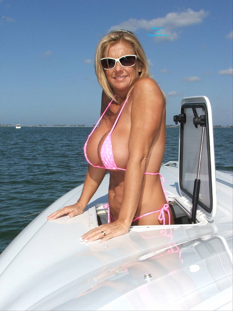 Chrissy On The Boat II - Big Tits, Bikini, Blonde Hair, Milf, Beach Voyeur, Wife/wives , Got Some Really Strange Comments About Being Old,fake, And Wrinkled With The First Post. Sticks And Stones!  Proud 45-year Old And Nothing To Apologize For.  Here Is Your Second Helping!  Love, Chrissy.