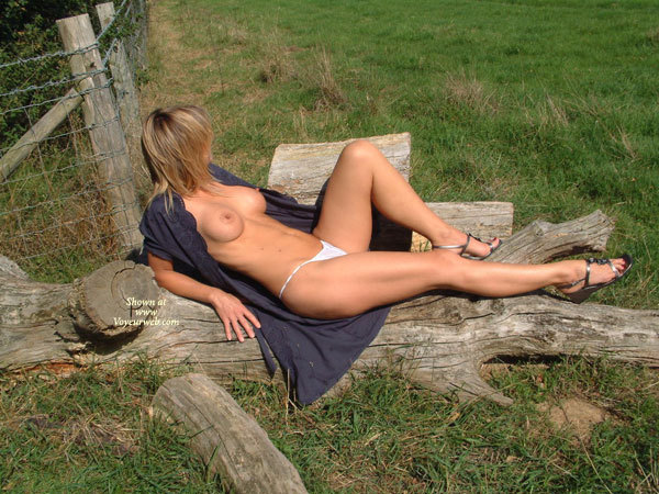 Open Dress - Erect Nipples, Large Breasts, Long Legs , Perfect Measurements, Long Blue Open Top, Catching The Sun, C Cup Boobs Braless, Unbuttoned, Button Front Dress, Naked In A Field, White Thong Panties, G String, Outdoors On A Sunny Day, Long Muscular Legs, Blue Dress Half Off