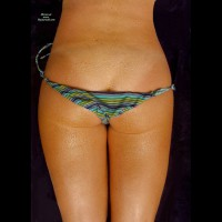 Water Drop Covered Ass - Round Ass, Tan Lines , Nice Round Ass, Striped Bikini, Ass Bikini, Nice Butt, Dew On Ass, Rolles Striped Bikini, Blue Green Purple Tieside Bikini Bottoms, Wet Bikini, Light Tan Lines, Bikini Bottom