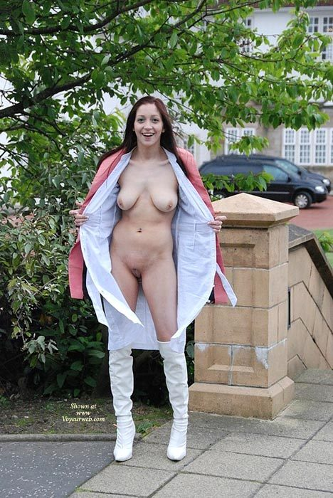 White Knee High Boots - Big Tits, Brown Hair, Dark Hair, Flashing, Long Hair, Natural Tits, Shaved Pussy , Bare Pussy, White Thigh High Heel Boots, Pink Coat, Big Smile, White Wrap Dress, Big, Natural Hanging Tits, Long Dark Brown Hair
