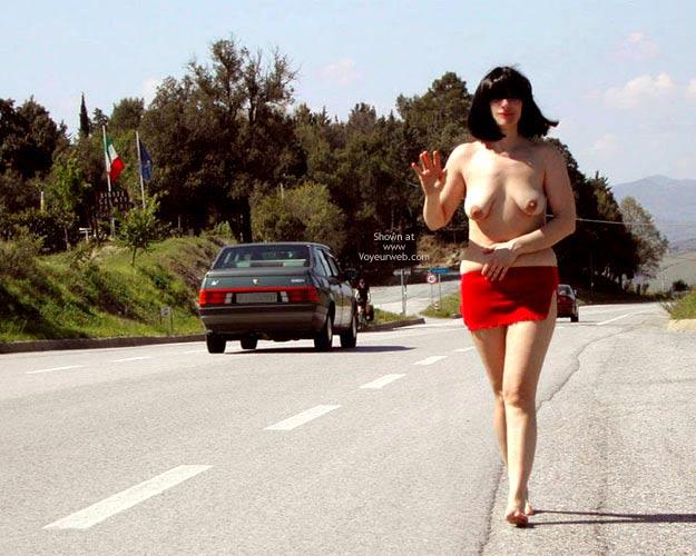 Black Hair - Black Hair, Nude In Public , Black Hair, Nude In Public, Red Mini-skirt
