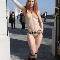 Vienna Flashing in Bratislava - Exposed In Public, Nude In Public, Redhead, Shaved, Dressed , Hi Girls And Guys It Was A Warm Day In Spring And We Were Visiting Bratislava. Its A Really Nice And Beautiful City With Beautiful Historical Sights. You Can Sit In The Streets Drinking Something And Watching The Life Around ... The Sun Heats Me On And Makes Me Naughty. I Didn't Need More Then A Short Skirt Under My Coat Hehe ... It Was A Really Beautiful Day - I Wish You The Same Fun And Hot Thougths With My Pics Like We Had Taking Them. Kisses Your Vienna