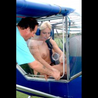 Public Flash In Small Airplane - Blonde Hair, Pierced Nipples , Nudist, Ultralight, Flying Naked, Natural Full Breasts, Pierced Belly Button, Pierced Nipple, Nipple Ring