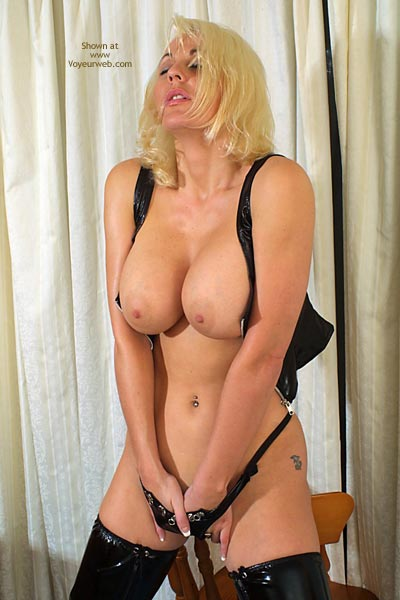Huge Tits - Blonde Hair, Huge Tits, Underwear, Sexy Panties , Huge Tits, Hands In Leather Panty, Blonde, Vynil Underwear, Touching Her Pussy