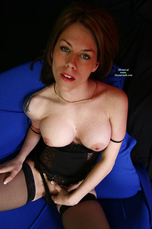 Topless Girl Fingering Pussy - Large Aerolas, Stockings, Topless , Boobs Out And Fingering Clit, Girl Playing, Kicking Back, Fingering Pussy, Gold Necklace, Black Corset With Thong And Hose, Black Lingerie