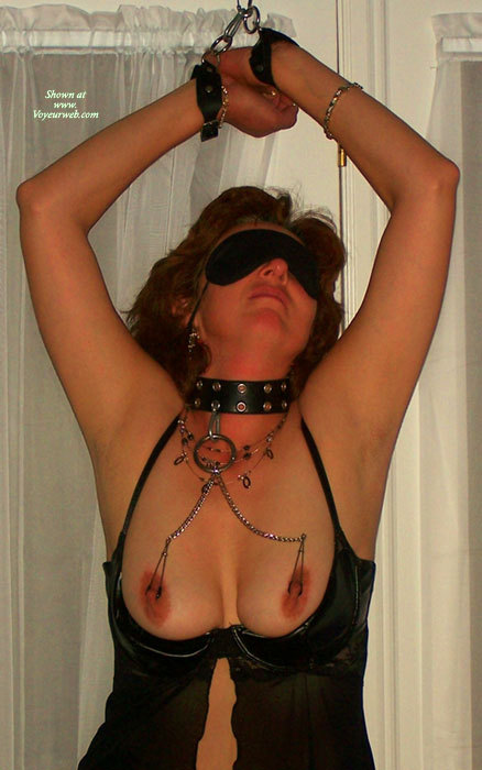 Nipple Clips - Black Hair, Bondage, Brown Hair , Hand Cuffs, Bondage Desire, Black Open Cup Babydoll, Bondage And Nipple Clamps, Black Choker, Nipple Torture, Black Leather Collar, Blindfold