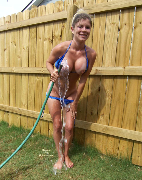 Naked In The Back Yard , Leaky Hose, Bending Forward, Big Boobs, Backyard Fun, Hose Off In The Yard, Wet Naked, Bent Over With Hand On Leg, Outdoor Water Hose Scene, Showing Off In Backyard, Bending Over