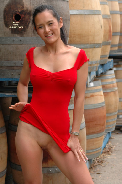Pantyless Under Minidress - Flashing, Shaved Pussy, Hairless Pussy , Flashing Pussy Outdoors, Pantyless, Asian Girl Flashing Pussy, Lifting Up Dress, Butter Face, Short Red Minidress, Tight Red Dress