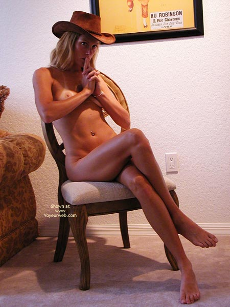 Wearing Hat - Legs Crossed , Wearing Hat, Naked In Chair, Long Legs Crossed, Tan Lines On Tits, Small Tits
