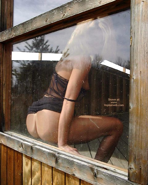 Ass On Glass - Blonde Hair, Sexy Lingerie , Ass On Glass, View Through Window, Black Lingerie, Blonde Hair