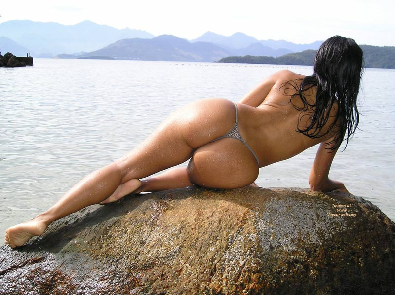 Topless On Rock By The Water - Long Legs, Topless , Sexy Toned Back, Grey G-string, Maid Of The Mountains, Thonged Ass, On A Lake, Athletic Body, Wet, Fit Butt, Outdoor Ass Shot, Lying On Side On Rock From Behind, Heart Shaped Ass, By The Mountains