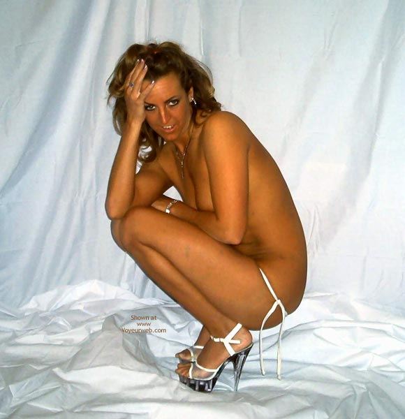 Transparent Stripper Shoes - Profile, Sexy Shoes , Transparent Stripper Shoes, White G String, Profile, Silver Heels And White Thong Crouching