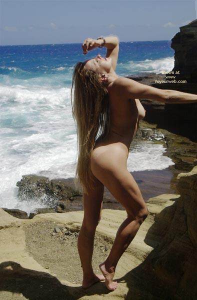 Posing Nude At The Beach , Posing Nude At The Beach, Blond Long Hair