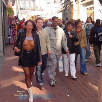 Flashing Tits In Public , Flashing Tits In Public, Exhibitionist Girl, Public Titts, Tits In Public, White Boots, Leather Jacket