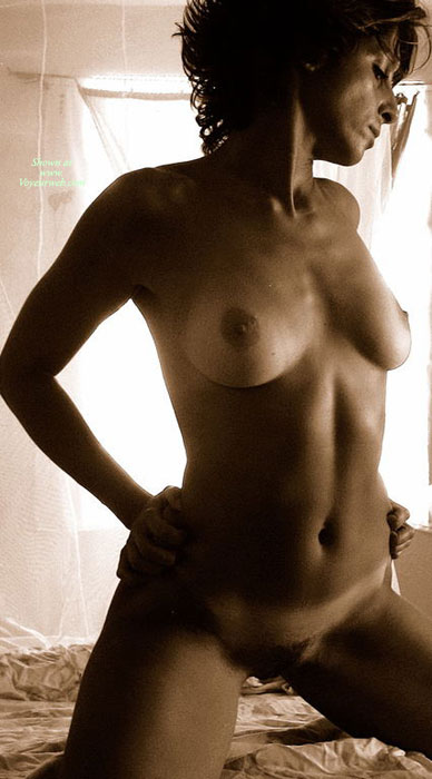 Nude Milf In Sepia - Hairy Bush, Milf, Perky Tits, Tan Lines, Naked Girl, Nude Amateur , Tan Lined Tits, Breasts And Belly Exposed, Full Bush Kneeling, Shoulders Back, Athletic Body, Hands On Hips, Frontal Nude Kneeling On Bed, Curly Hair