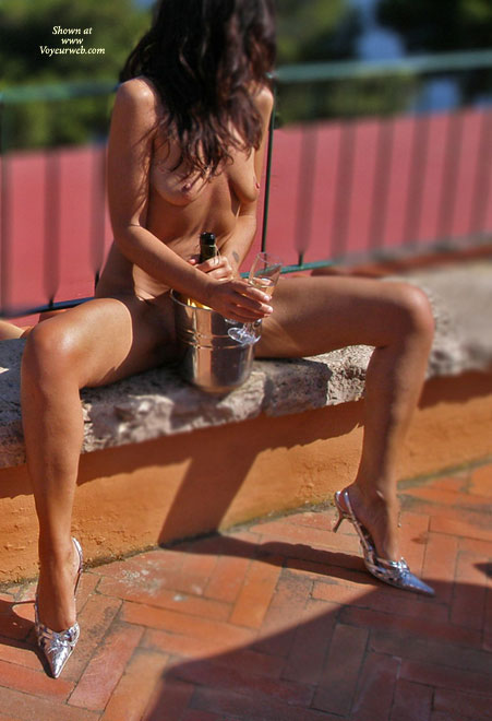 Naked Brunette Outside On Bench With Champagne - Brown Hair, Brunette Hair, Hard Nipple, Heels, Long Hair, Long Legs, Small Breasts, Spread Legs , Small Saggy Breasts, Long Brown Hair Naked, Sitting On A Ledge, Silver High Heels, Spread Legs With Champagne Bucket, Pancake Tits And Hard Nipples, Naked Long Slender Legs