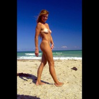 Blonde Nude Strolling Beach - Titties, Beach Voyeur , Blonde Nude Strolling Beach, Beach Babe, Blonde With Tan Lines, Untanned Titties, Walking Naked On Beach
