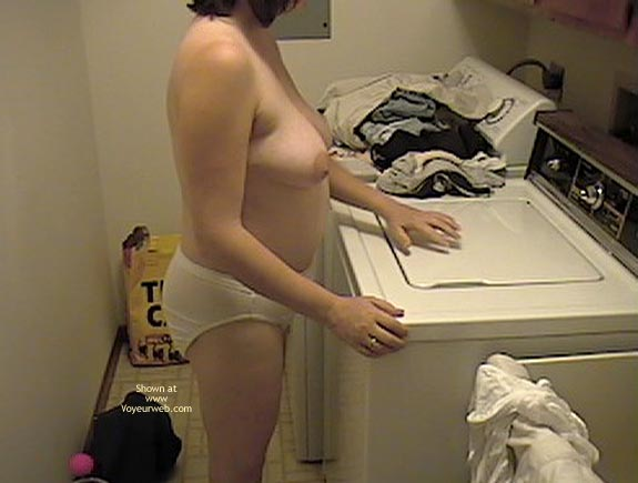 Pic #1 Wife Doing Laundry Topless