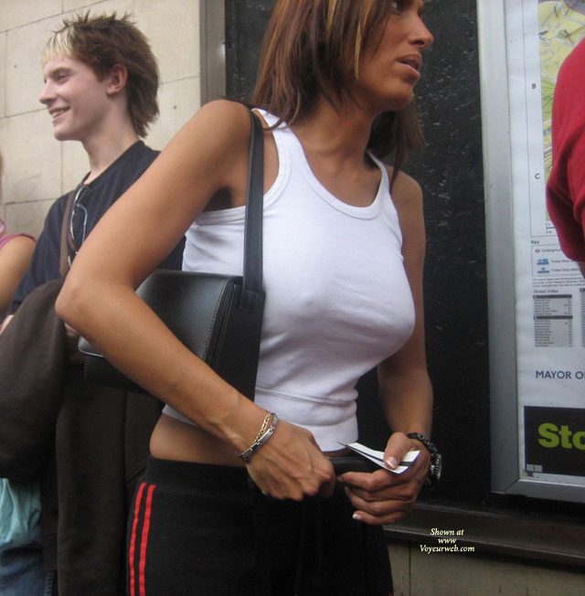 through shirt public see nipples Wife