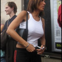 Nipples Through Shirt - Hard Nipple , Sexy Clothed, Black Sweat Pants With Red Stripe, Braless White Tank Top, Perky Nipples, Form Fitting White Shirt, Public Show, Hot Nips In Public, Street Voyeur, White Tank Top, See Through
