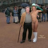 Nude In Public - Blonde Hair, Nude In Public, Top , Nude In Public, Seethru Top, White Platform Boots, Curly Blonde Hair, Seethru Dress