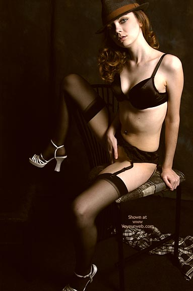 Hiding Pussy - Bra , Hiding Pussy, Professional Picture, Black Bra, Black Garter Belt And Black Stockings, White Strappy High-heel Platform San, Fedora