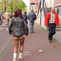Pantyhosed Ass In The Street - Nude In Public , Pantyhosed Ass In The Street, Pantyhose In Public, Skirt Lifting, Black Leather Jacket, White Boots Mid Calf Leather, Dark Red Hair, Eip
