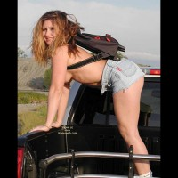 Denim Shorts - Nude In Car , Denim Shorts, Hitchhiker, Nude Trucker, Posing In A Car, Topless Backpacker, Bent Over Topless In Pick Up Truck