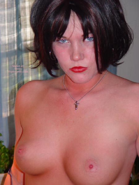 Like My Little Nips - Blue Eyes, Perky Tits, Red Lips, Tiny Nipples , Like My Little Nips, Topless Pout, Striking Blue Eyes, Red Lips, Tiny Nipples, Perky Boobs, C Cup