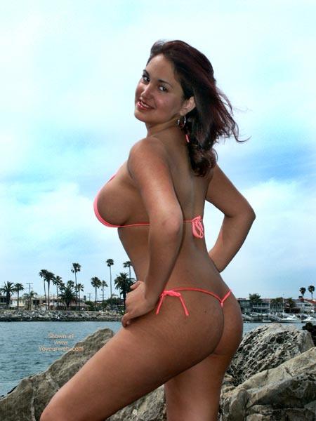 Nice Tits - Sexy Ass , Nice Tits, Nice Ass, Paradise In The Tropics, Orange Thong Bikini, Circular Earings, Brown Hair