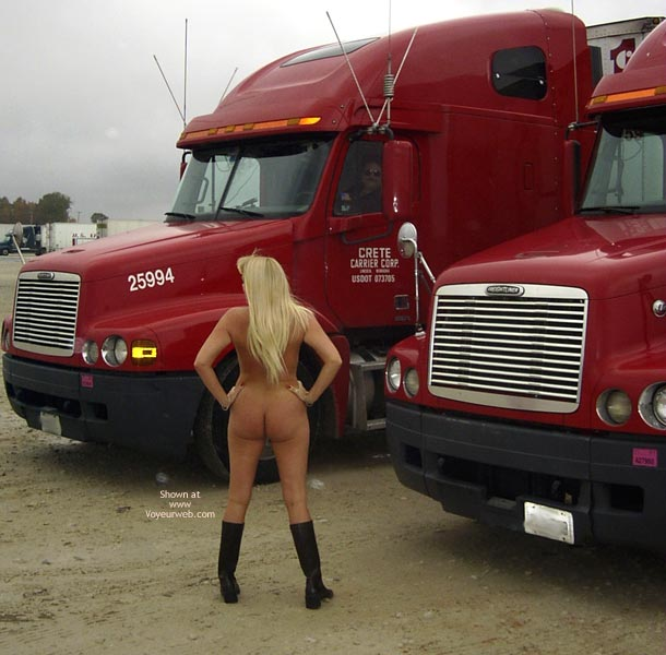 Nude Outdoors - Nude Outdoors , Nude Outdoors, Naked At The Truck Lot, Milf Blonde Flashing, Daring Blonde Exposed To Trucker