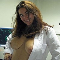 Topless Posing In A White Lab Coat - Big Tits, Brown Hair, Large Aerolas, Large Breasts, Long Hair, Topless, Naked Girl, Nude Amateur , Topless At Work, White Lab Coat, Nude Breasts, Braless Doctor Coat, Long Messy Brown Hair, In The Doctors Office