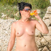 Croatia - Brunette Hair, Nude In Public, Pussy Lips, Shaved, Beach Voyeur , Some Pics With Me Relaxing On  Beach In Croatia