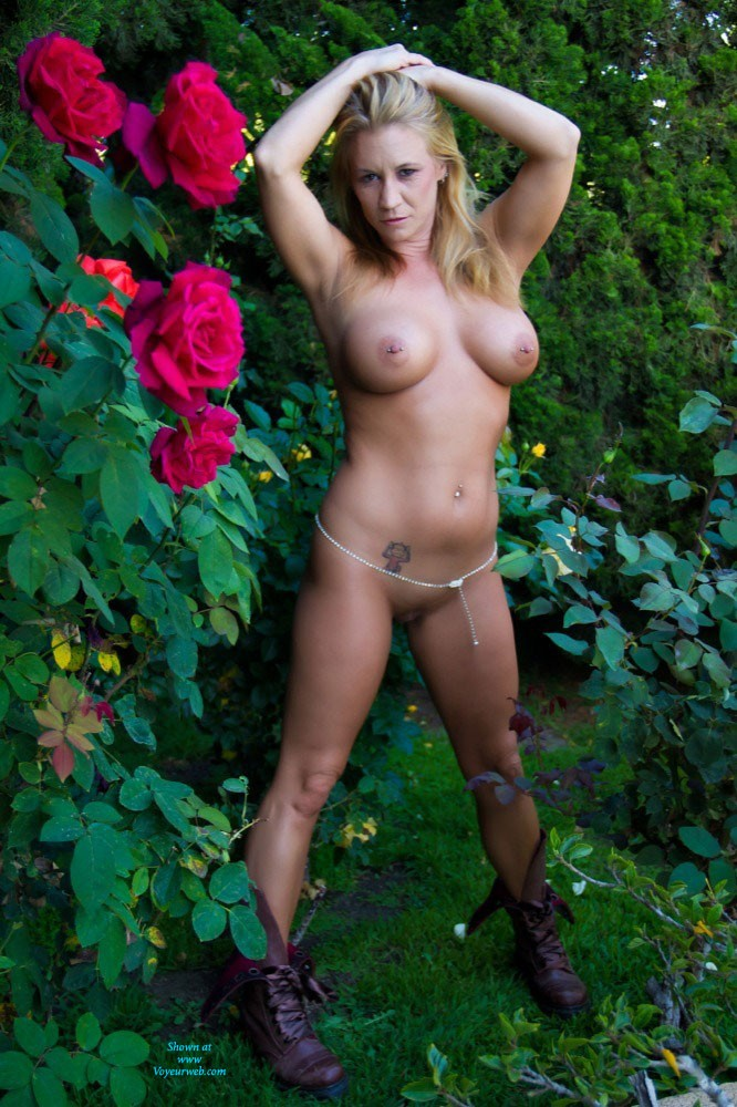 Rose Garden - Big Tits, Blonde Hair, Pussy Lips, Shaved , Beautiful Day To Smell  Roses !