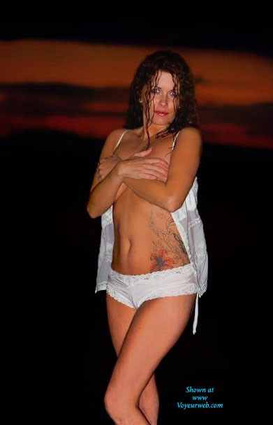 Pic #1Outdoor Shoot/Water at Sunset - Beach, Lingerie, Redhead, See Through, Tattoos