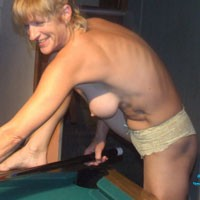 Playing Pool Naked - Blonde, Hard Nipples, Lingerie, Long Legs, Small Tits