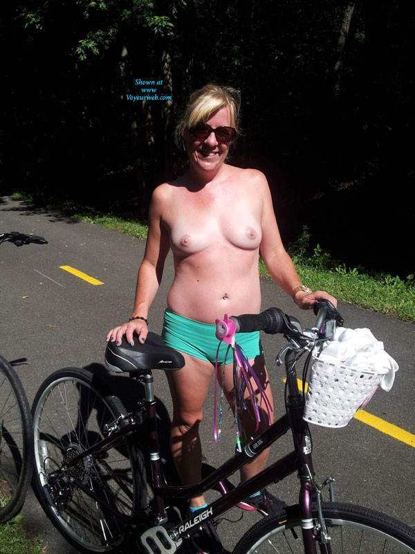 Pic #1Bike Ride With GG - Blonde, Flashing, Public Exhibitionist, Public Place, Natural Tits, Pussy