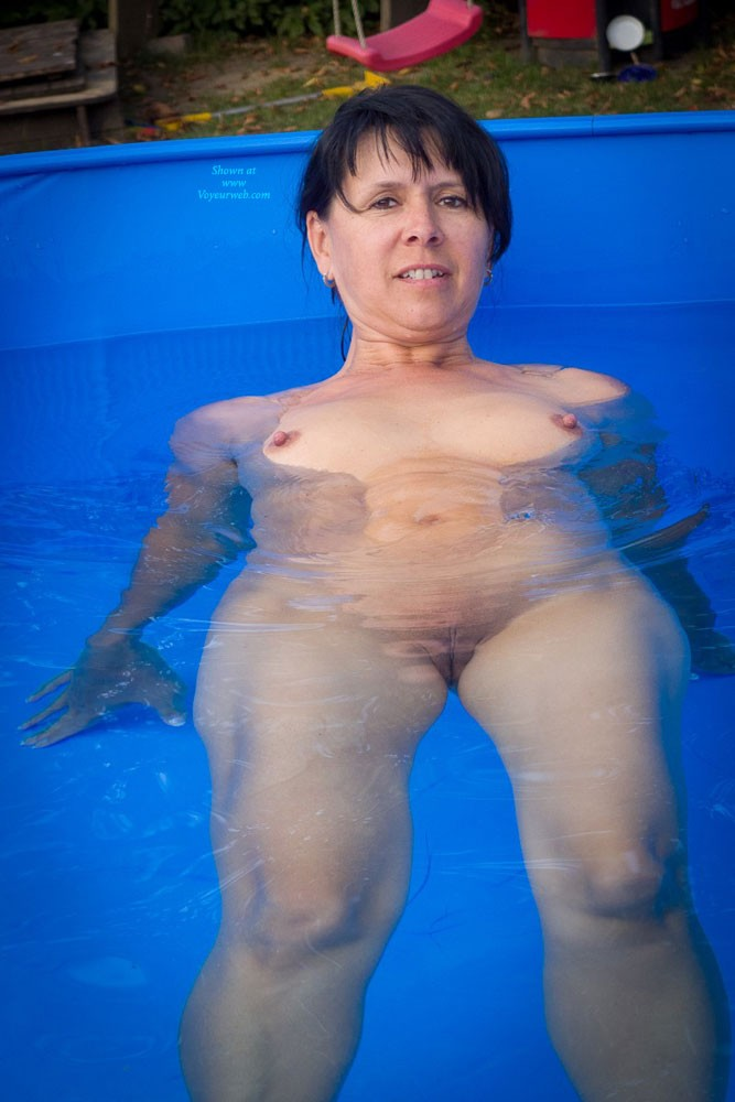 Pool - Brunette Hair, Hard Nipple, Pussy Lips, Shaved, Small Tits, Wet , This Is Me In A Little Pool In The Garden Of My Friends.
