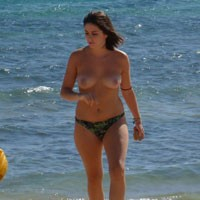Spanish Girl - Brunette Hair, Perfect Tits, Beach Voyeur