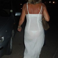 Susy Wearing Thong Under See-Through Dress - Beach, Dressed, See Through, Wife/wives