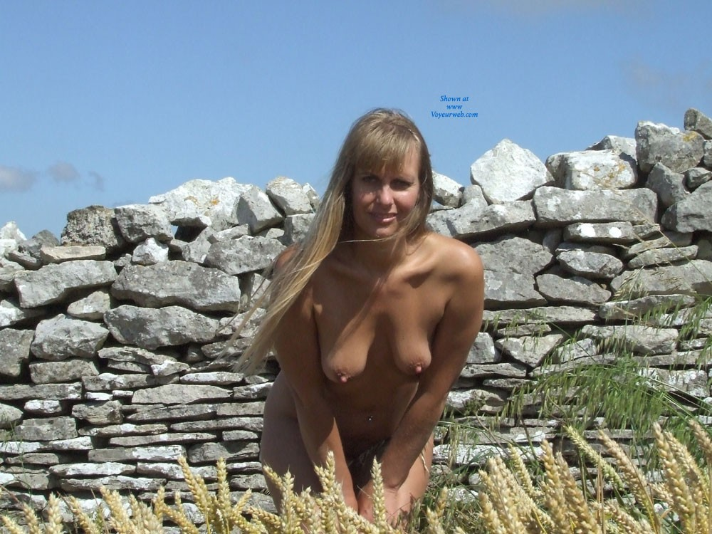 Outdoors Wearing My Fav Outfit... Nothing !! - Blonde Hair, Hard Nipple, Heels, Navel Piercing, Nude Outdoors, Perfect Tits, Pussy Lips, Beach Voyeur , I Think My Title Says It All....Just Me Outdoors Wearing My Fav Outfits...Little & Nothing..XX