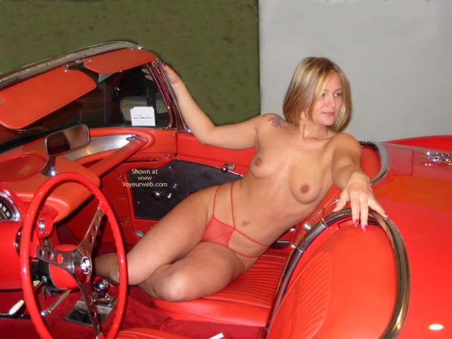 Topless Blonde - Topless Blonde, Sexy Panties , Topless Blonde, Red Convertable, Red Panties, Naked In Red Hotrod, Topless Blonde In Shear Panties
