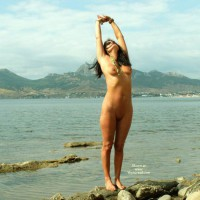 Nude Girl Stretching At Lakeside - Black Hair, Dark Hair, Long Hair, Shaved Pussy, Naked Girl, Nude Amateur , Long, Full Frontal Nude, Streched Naked, Archback, Naked Beach Stretch, Naked At The Lakeside, Standing In Front Of A Lake