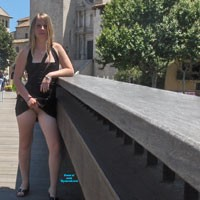 Flashing in Public - Blonde, Dressed, Flashing, Public Exhibitionist, Public Place, Shaved, Firm Ass, Pussy, Young Woman