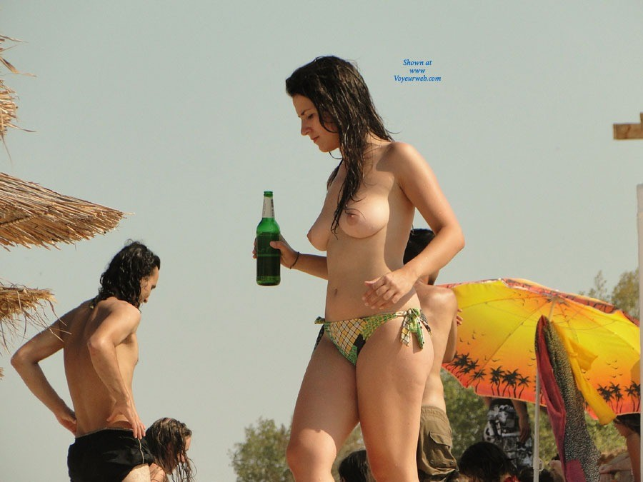 Having Fun - Brunette Hair, Beach Voyeur