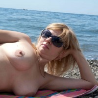My Wife on a Deserted Beach - Big Tits, Blonde Hair, Close Up, Shaved, Beach Voyeur, Wife/wives