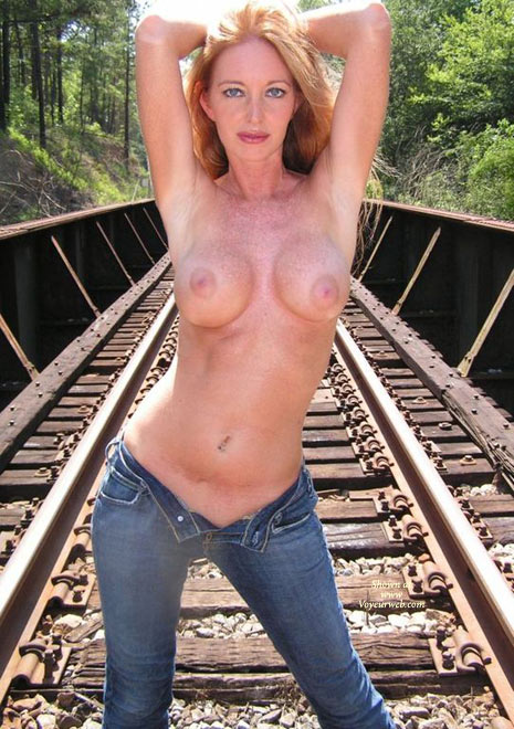 Unzipped Fly - Blonde Hair, Large Breasts, Topless , Pink Nipples, Standing Pose With Jeans Unzipped, Topless In Jeans, Topless On A Railroad, Blue Jeans, Round Freckled Breasts, Wife Topless Outdoors, Topless Outdoor Standing On Railroad Tracks, Large Freckled Boobs Front And Center, Blue Denim, Strawberry Blonde Hair, Hands Together Behind Red Head, Standing Topless On Train Lines, Small Waist Red Head, Blond Topless On Railroad, Topless Pose